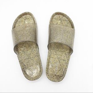 J Crew Gold Glittery Pool Sandals